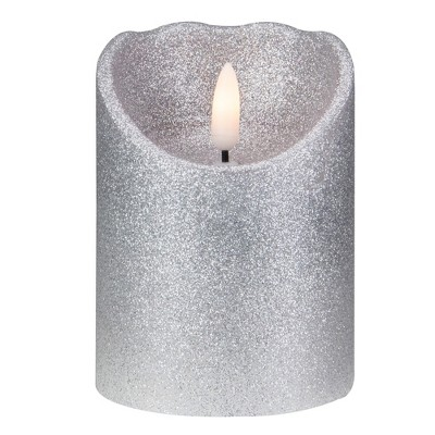 """Northlight 4"""" LED Silver Glitter Flameless Christmas Decor Candle"""