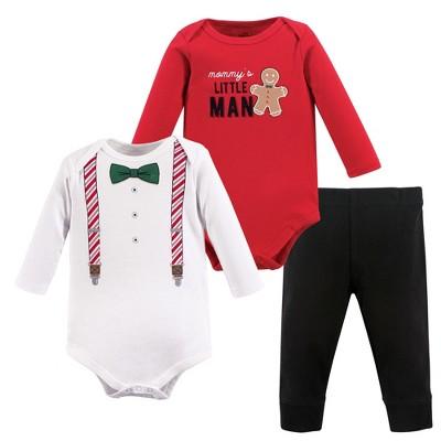 Little Treasure Baby Boy Cotton Bodysuit and Pant Set, Christmas Suspenders