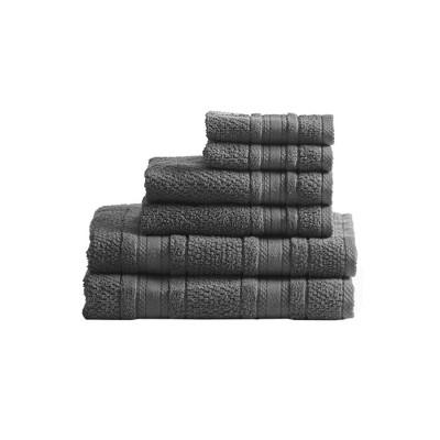 Roman Super Soft 6pc Cotton Bath Towel Set Dark/Gray (27x52 )