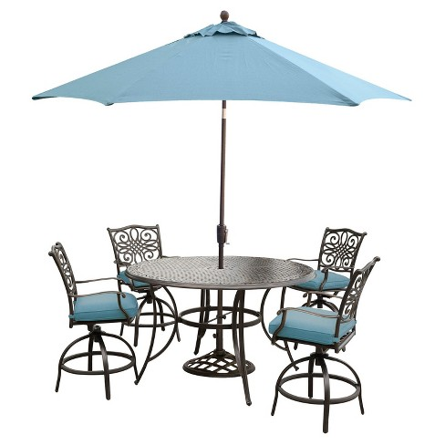 Traditions 7pc Round Metal Patio Dining Set w/ 9' Umbrella & Stand - Blue - Hanover - image 1 of 7