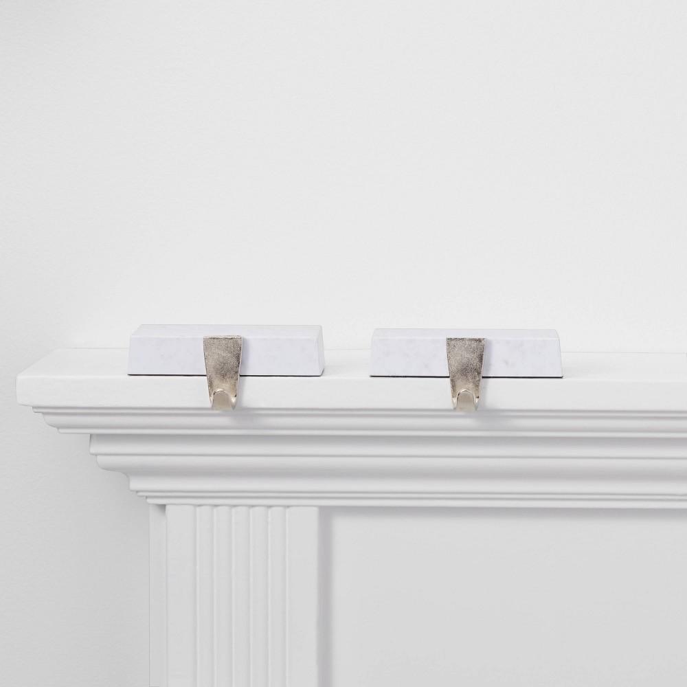Image of 2ct Faux Marble Base Christmas Stocking Holder - Wondershop , White