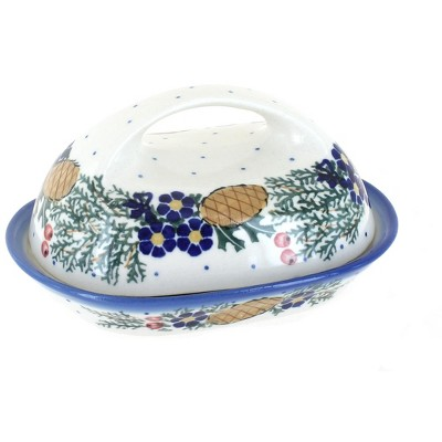 Blue Rose Polish Pottery Pinecone Butter Dish