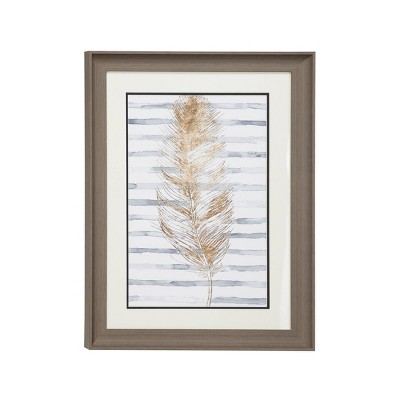 "17.5"" x 23.5"" Eclectic Decor Metallic Feather Print with Stripes Rectangular Brown Wood Frame - Olivia & May"