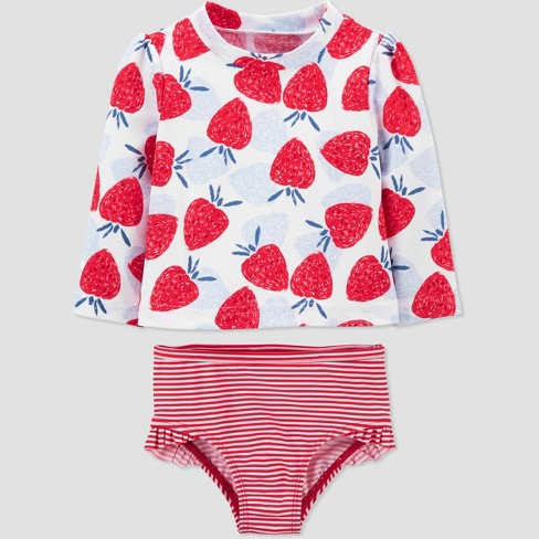 Baby Girls' Strawberry Print Long Sleeve Rash Guard Set - Just One You® made by carter's Red/Blue - image 1 of 3