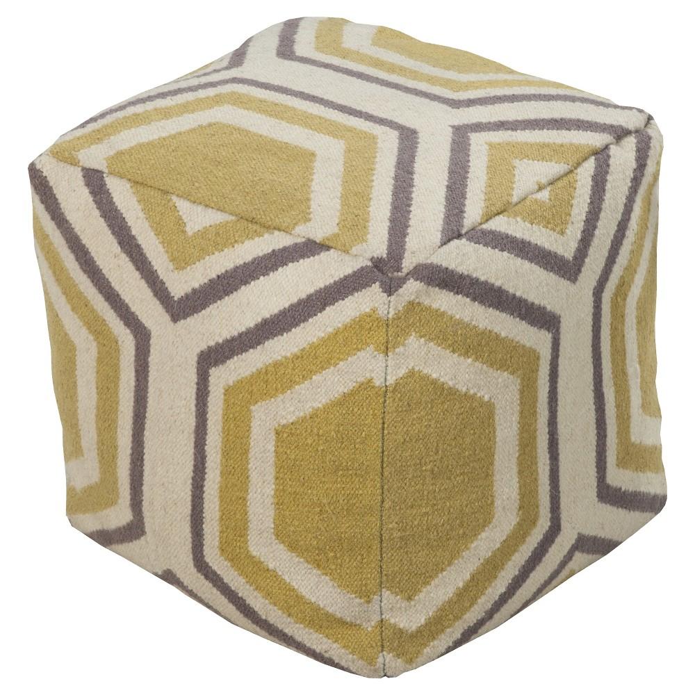 Gold Alavus Geometric Pouf 18x18