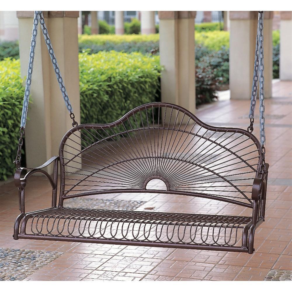International Caravan Sun Ray Iron Porch Swing, Bronze