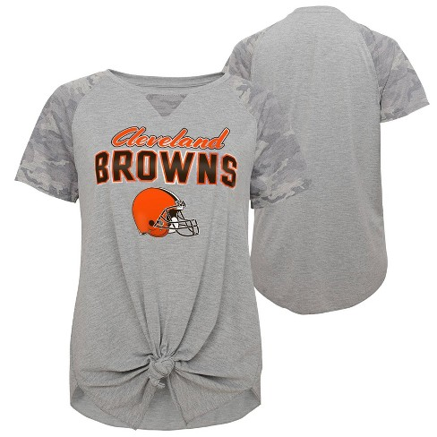 new style 7b0bf cb125 NFL Cleveland Browns Juniors Game On Gray Knot Front T-Shirt