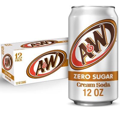 A&W Zero Sugar Cream Soda - 12pk/12 fl oz Cans