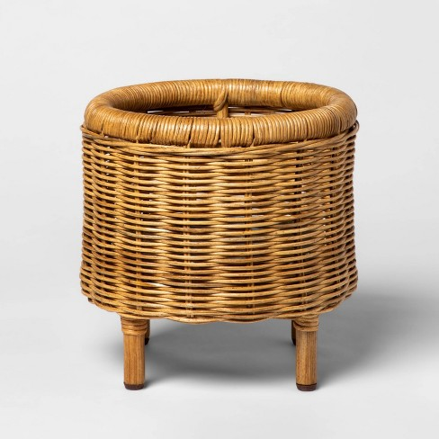 "11"" x 10.7"" Woven Rattan Planter Brown - Threshold™ - image 1 of 2"