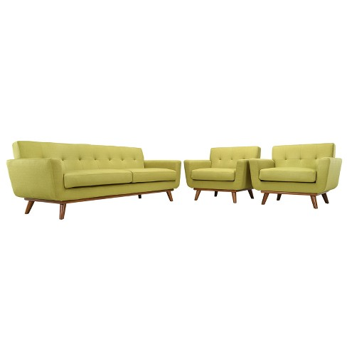 Engage Armchairs and Sofa Set of 3 Wheatgrass - Modway - image 1 of 6
