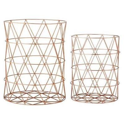 Metal Baskets with Copper Finish - Set of 2 - 3R Studios