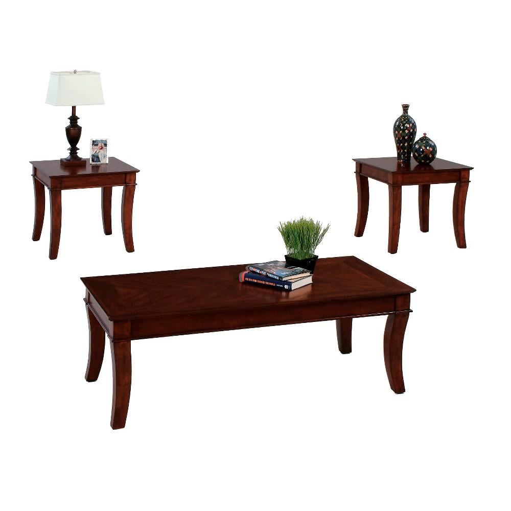 Corona Occasional Table Set - Medium Cherry (Red) - Progressive Furniture