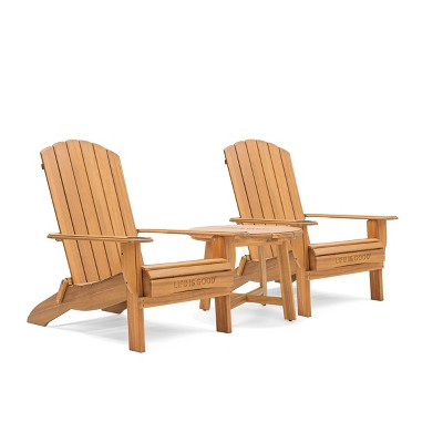 Adirondack 3pc Folding Chairs & Side Table Natural - Life is Good