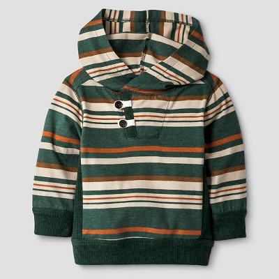 Baby Boys' Striped Hoodie T-Shirt - Green 12M - Genuine Kids™ from Oshkosh®