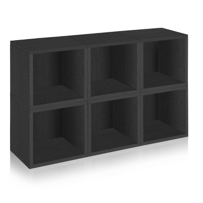 Way Basics 6-Cube Eco Stackable Storage Cubby Organizer Black Wood Grain