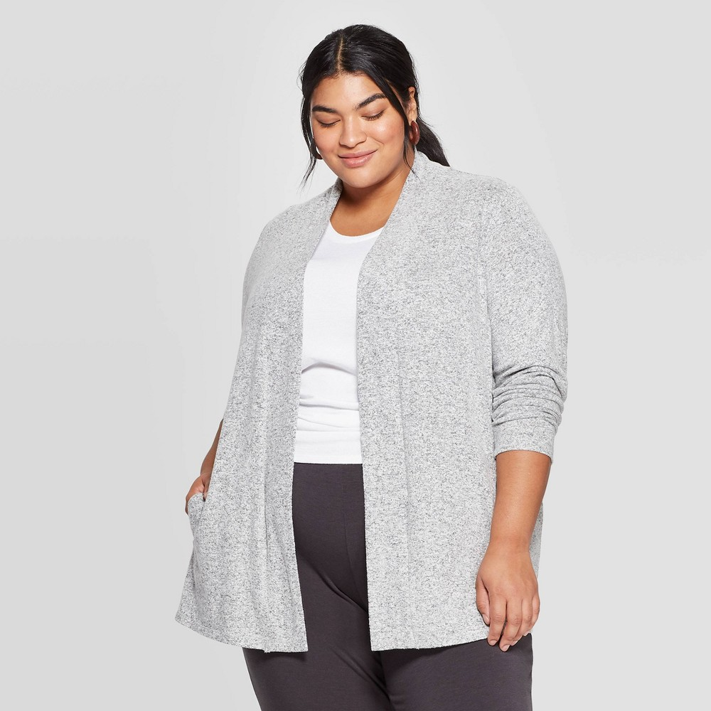 Women's Plus Size Collared Open Layering Cardigan - Ava & Viv Gray X, Women's was $27.99 now $19.59 (30.0% off)