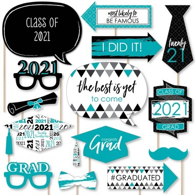 Big Dot of Happiness Teal Grad - Best is Yet to Come - Turquoise 2021 Graduation Party Photo Booth Props Kit - 20 Count