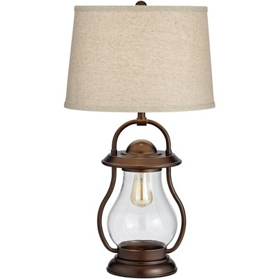 Franklin Iron Works Rustic Industrial Table Lamp with Nightlight LED Bronze Lantern Burlap Drum Shade for Bedroom Bedside Office