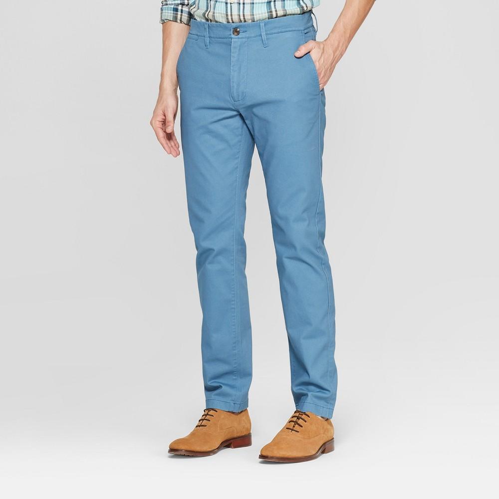 Men's 34 Regular Slim Fit Hennepin Chino Pants - Goodfellow & Co Blue 36x30