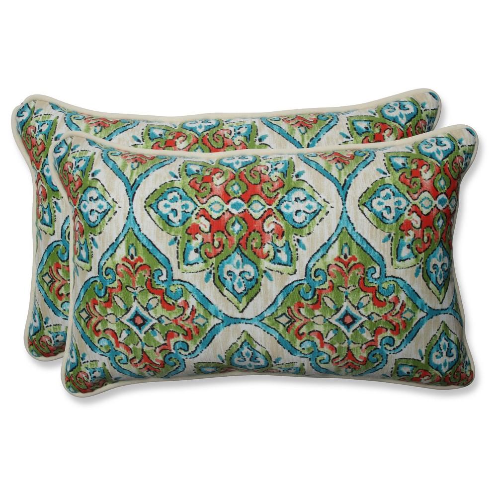 Outdoor/Indoor Splendor Opal Rectangular Throw Pillow Set of 2 - Pillow Perfect, Multi-Colored