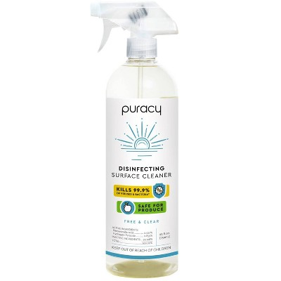 Puracy Disinfecting Surface Cleaner - Free & Clear - 25 fl oz