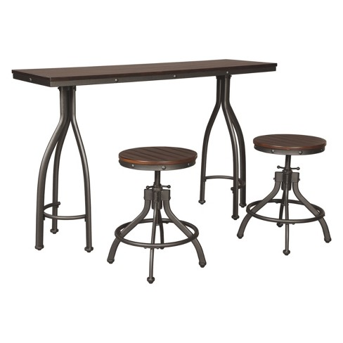 Set of 3 Odium Rectangular Dining Room Counter Table Set Brown - Signature Design by Ashley - image 1 of 2