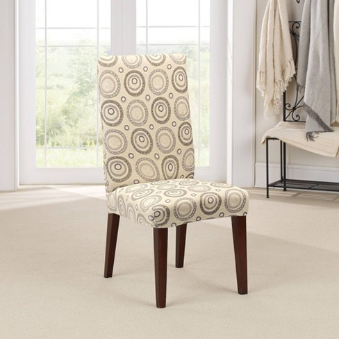 Stretch Printed Velvet Circle Short, Dining Room Chair Slipcovers