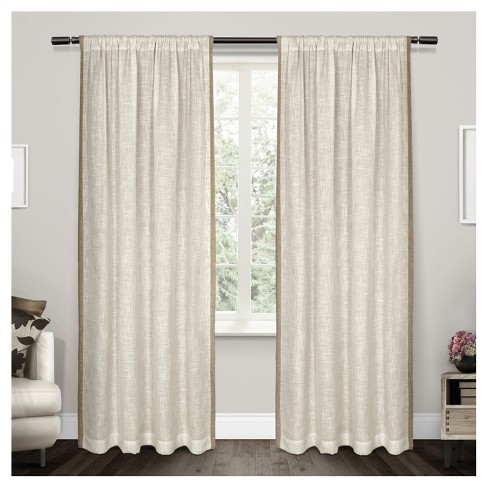 Baja Rod Pocket Window Curtain Panel Pair Linen - Exclusive Home™ - image 1 of 4