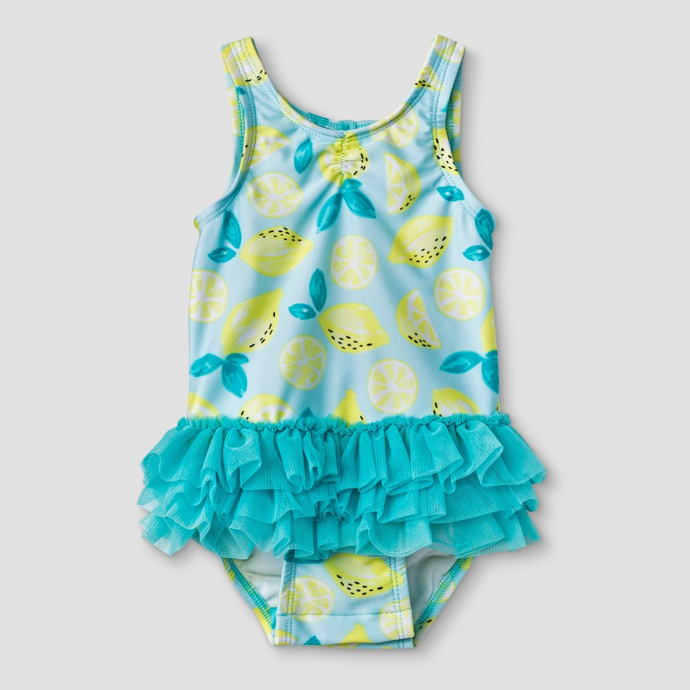 Baby Girls' Tutu One Piece Swimsuit - Cat & Jack Turquoise 6-9M, Yellow