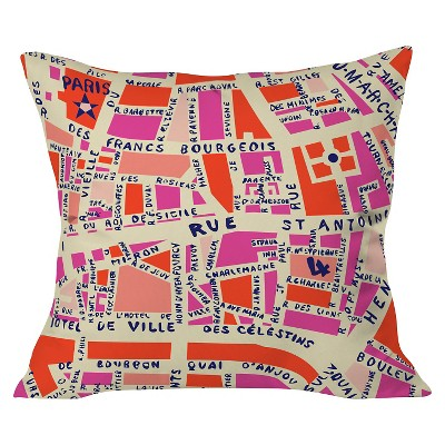 Pink Holli Zollinger Paris Map Throw Pillow 20 X20 Deny Designs Target