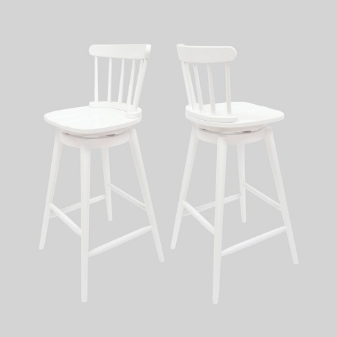 Set Of 2 Ahart Farmhouse Spindle Back Swivel Barstools White Christopher Knight Home Target
