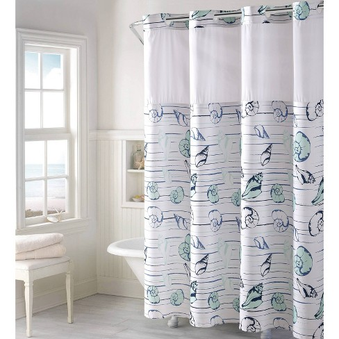 Seashell Shower Curtain with Liner - Hookless - image 1 of 4