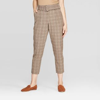 Women's Plaid Mid-Rise Belted Trousers - A New Day™ Brown 2