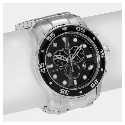Men's Invicta Pro Diver 15081 Stainless Steel Chronograph Dial Link Bracelet Watch - Silver/Black - image 1 of 3