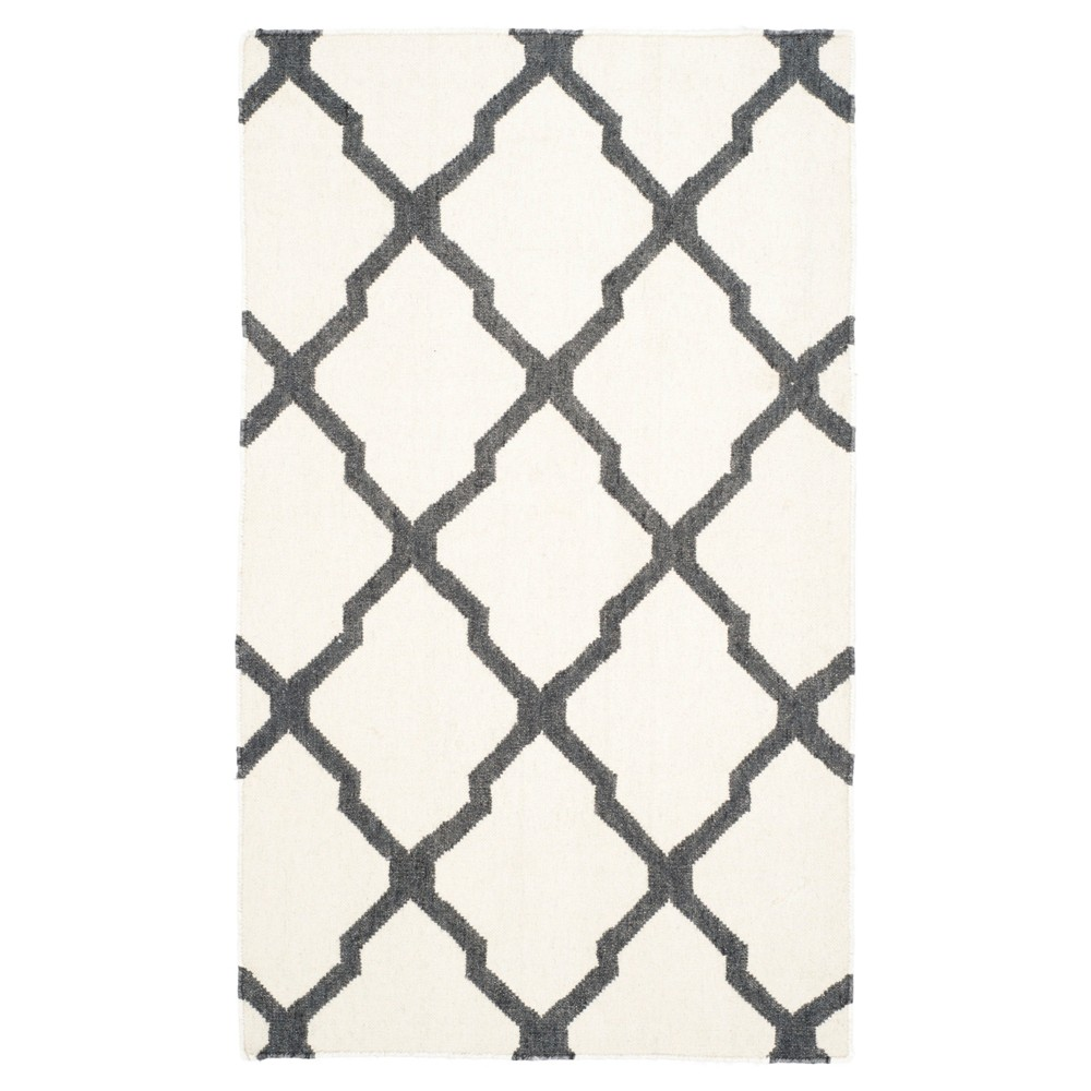 Dhurries Rug - Ivory/Charcoal (Ivory/Grey) - (3'x5') - Safavieh