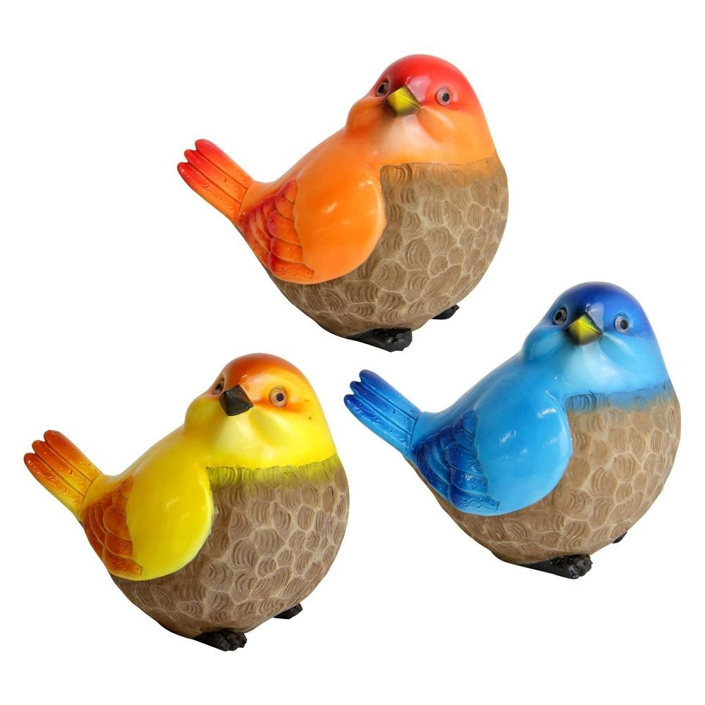 Reviews Set of 3 Resin Bird Statue Orange/Blue/Yellow - Exhart