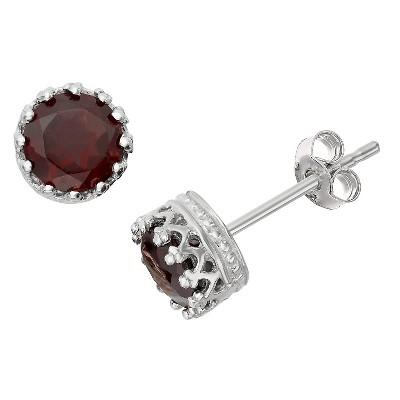 6mm Round-cut Garnet Crown Earrings in Sterling Silver