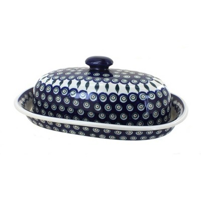 Blue Rose Polish Pottery Peacock Bread Container