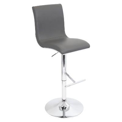 LumiSource Spago Adjustable Barstool - Sleek Gray