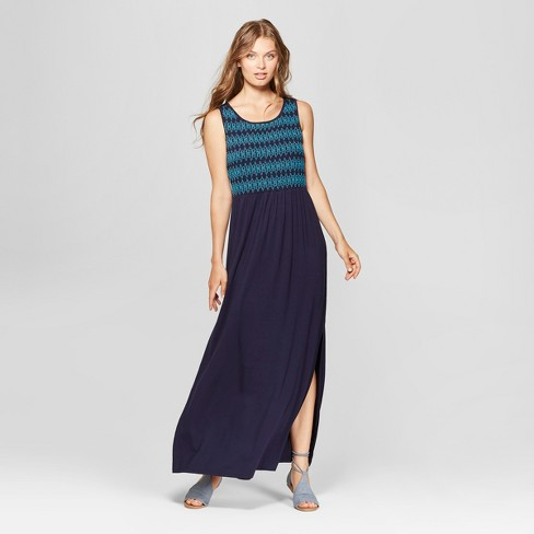 394b42416338 Women's Sleeveless Zig Zag Embroidered Maxi Dress - Spenser Jeremy - Navy