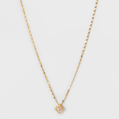 Caged Stone Short Necklace - A New Day™ Rose Gold