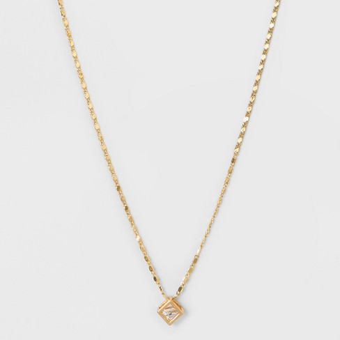 Caged Stone Short Necklace - A New Day™ Rose Gold - image 1 of 3