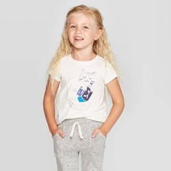 Toddler Girls' Short Sleeve 'Kitty Dreidel' Graphic T-Shirt - Cat & Jack™ Cream
