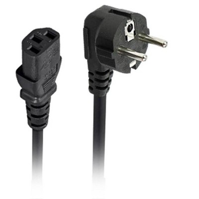 """Monoprice AC Power Cord - 10 Feet - Black, CEE 7/7 """"SCHUKO"""" (Europe) to IEC 60320 C13, 18AWG, 5A/1250W, 250V, 3-Prong, For PC Computers, PDU, UPS"""