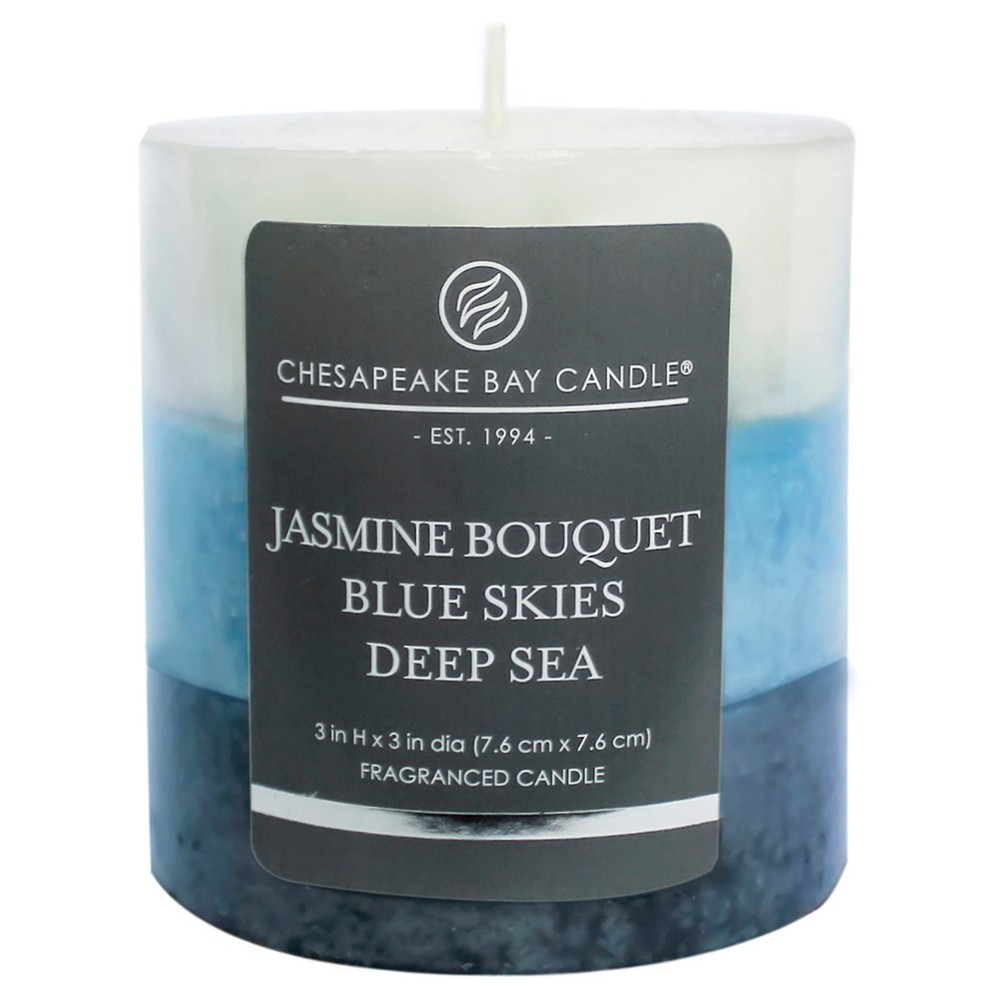 Layered Pillar Candle Jasmine/Blue Skies/Deep Sea 3