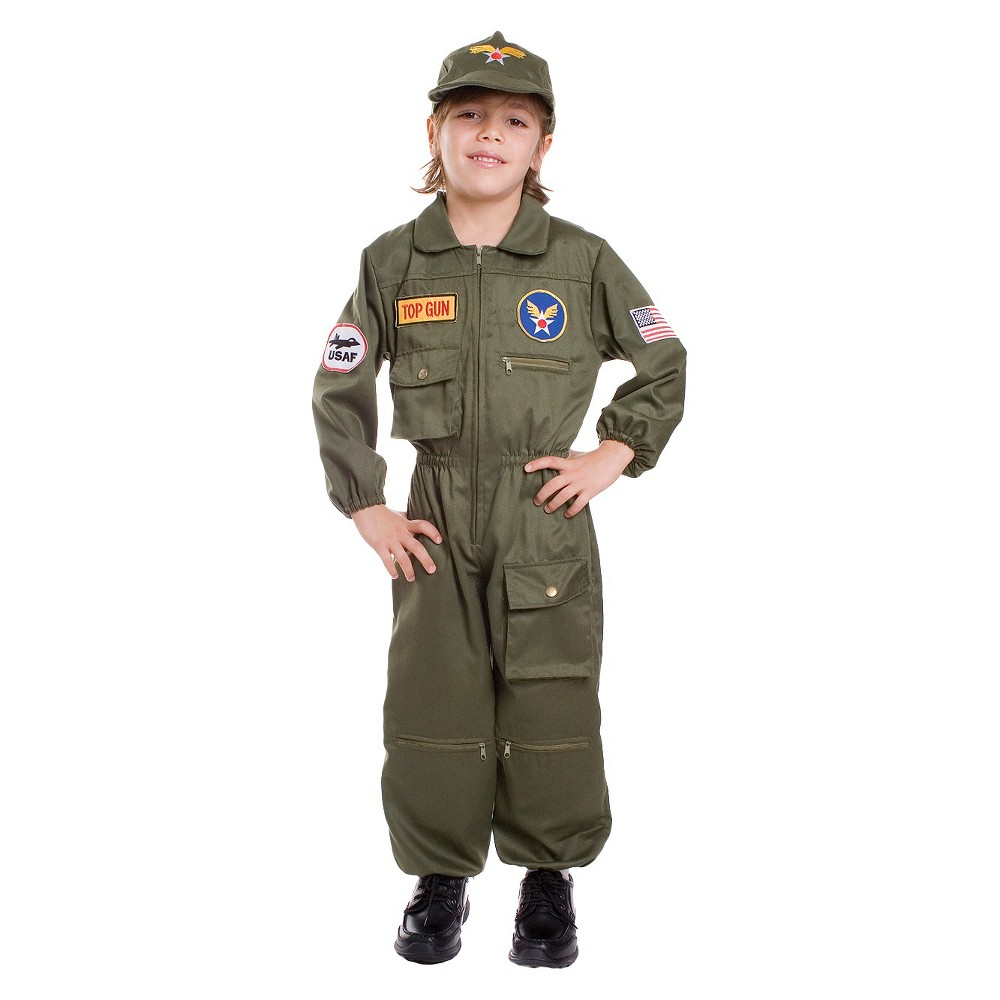 Halloween Kids' Air Force Pilot Costume S(4-6), Men's, Size: Small(4-6), MultiColored