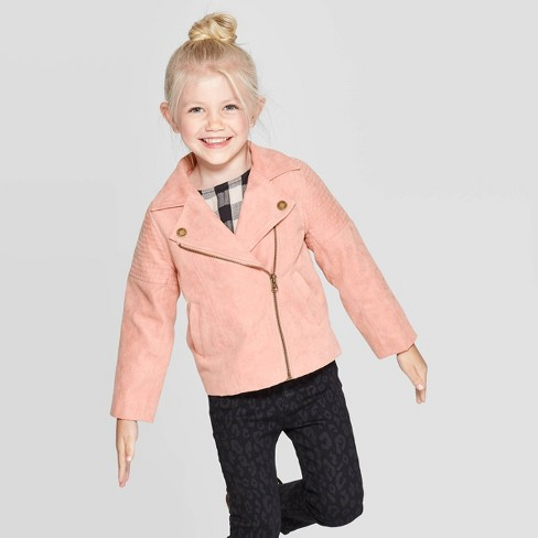 Toddler Girls' Faux Suede Moto Jacket - art class™ Peach - image 1 of 3