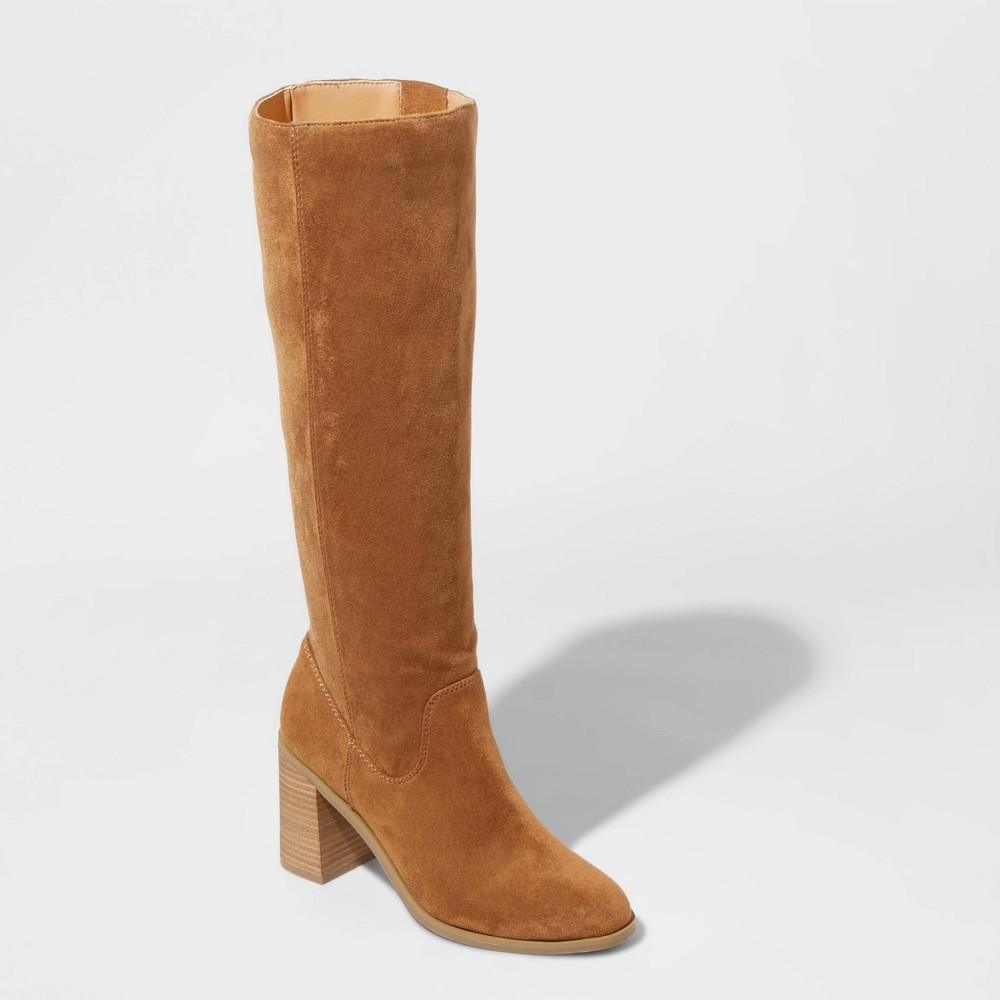 Image of Women's Antonia Microsuede Heeled Riding Boots - Universal Thread Cognac 10, Red
