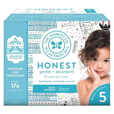 Honest Company Disposable Diapers Club Pack Teal Tribal & Space Travel - Size 5 (50ct)