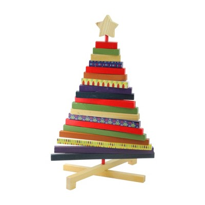 """Northlight 15.5"""" Beige and Red Adjustable Wooden Christmas Tree Tabletop Decor"""